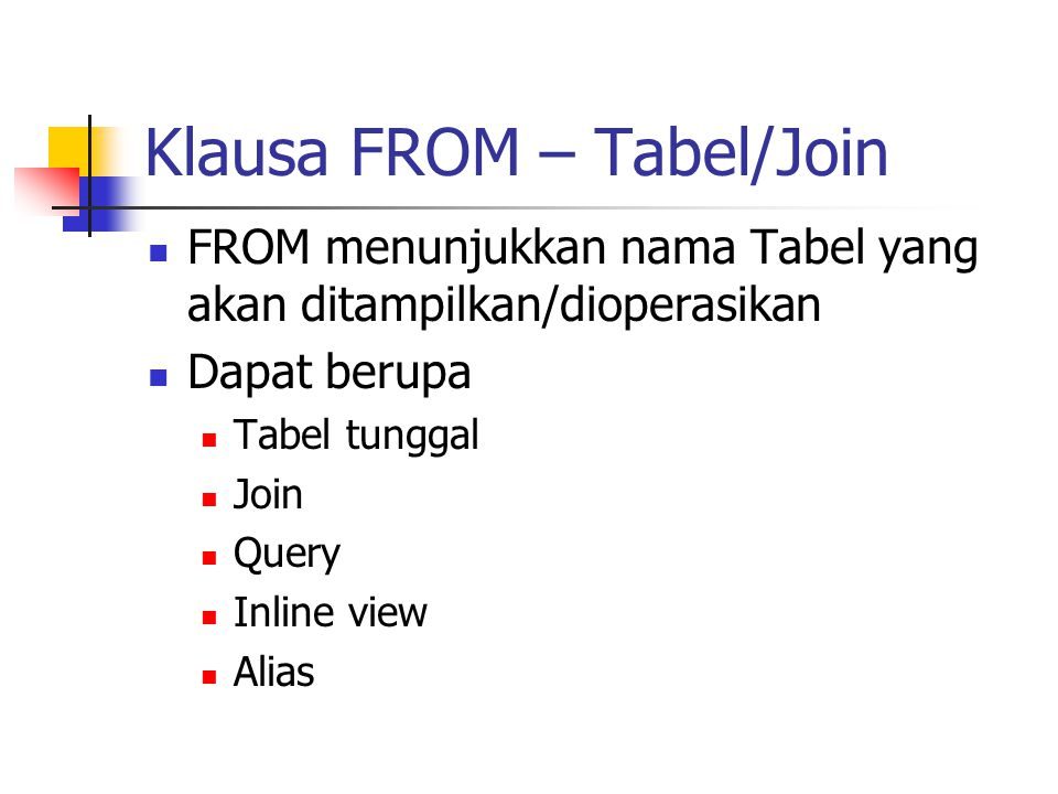 Klausa FROM – Tabel/Join