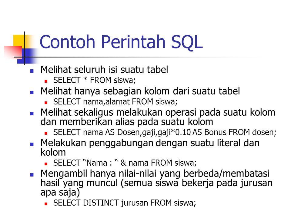 Contoh Perintah SQL Melihat seluruh isi suatu tabel