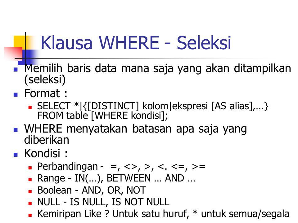 Klausa WHERE - Seleksi Memilih baris data mana saja yang akan ditampilkan (seleksi) Format :