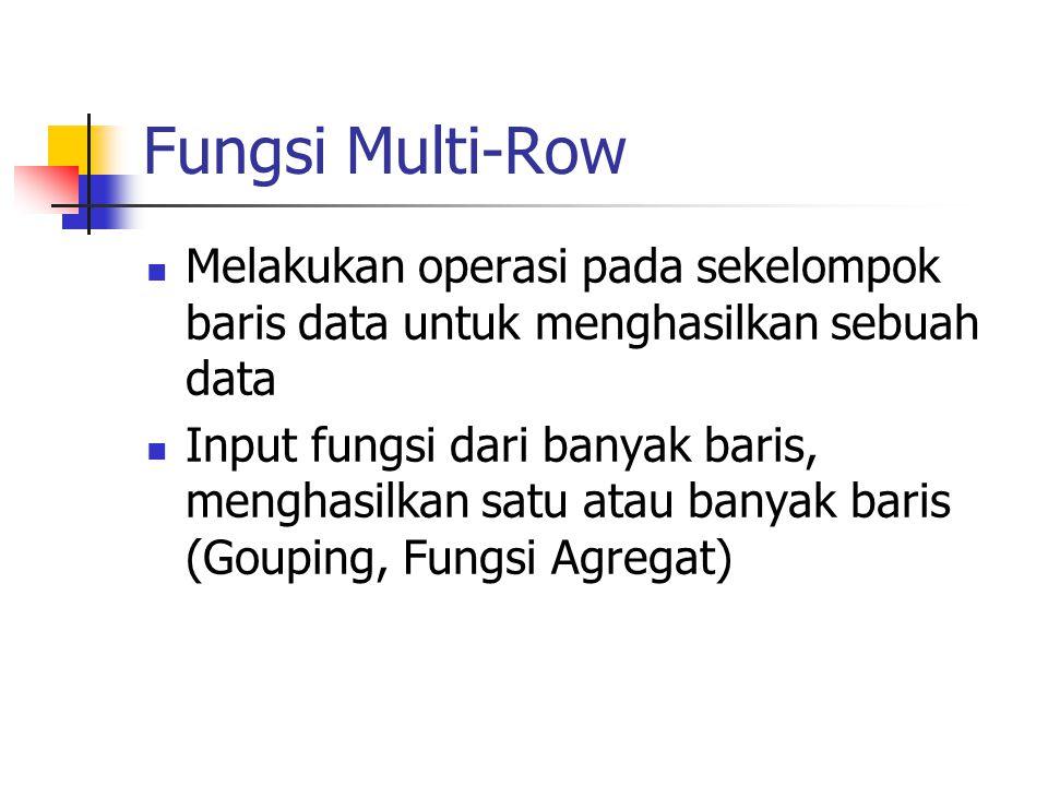 Fungsi Multi-Row Melakukan operasi pada sekelompok baris data untuk menghasilkan sebuah data.