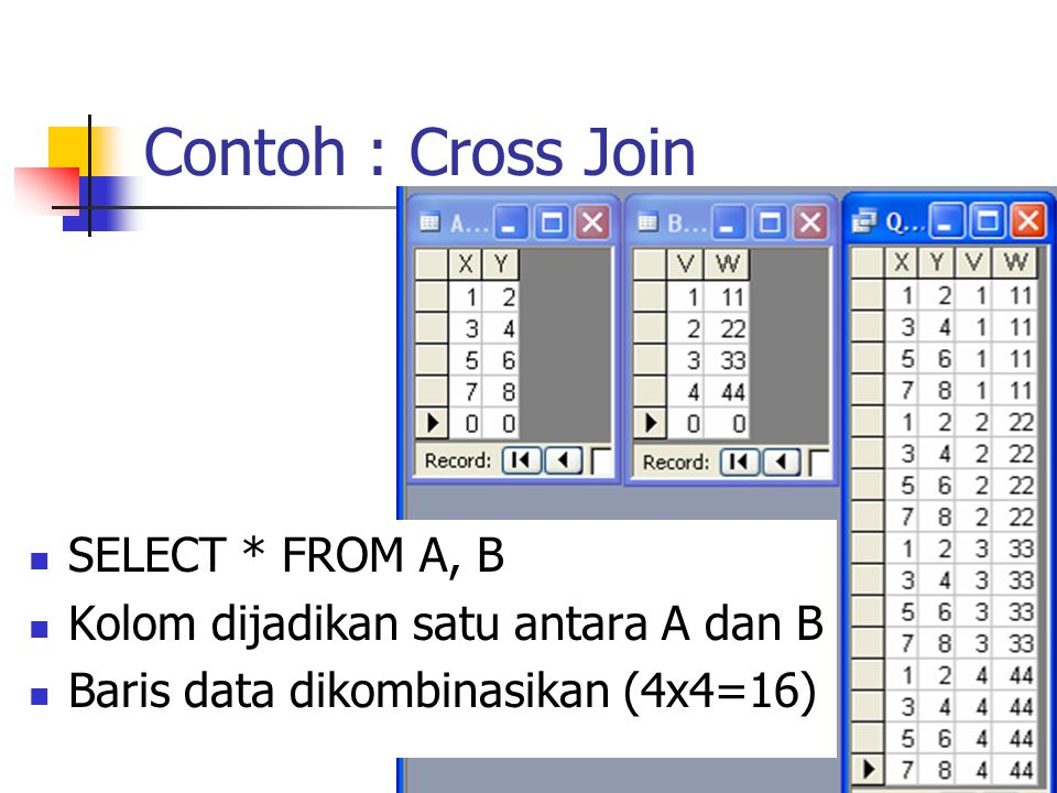Contoh : Cross Join SELECT * FROM A, B