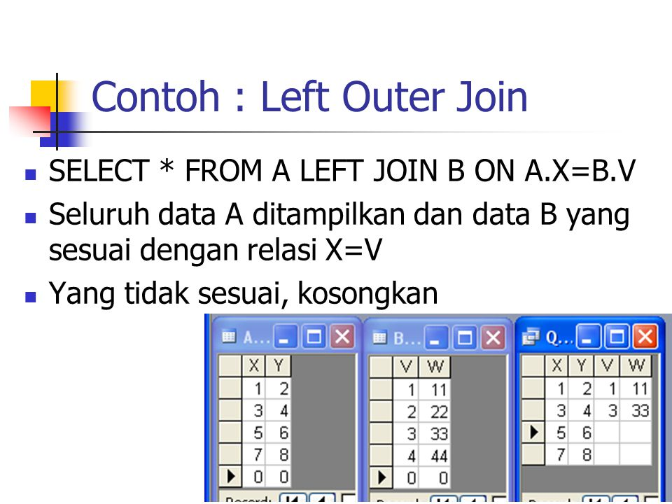 Contoh : Left Outer Join