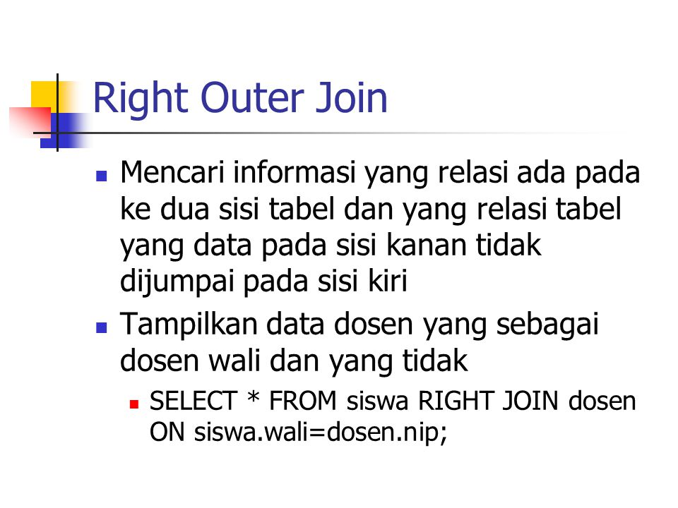 Right Outer Join