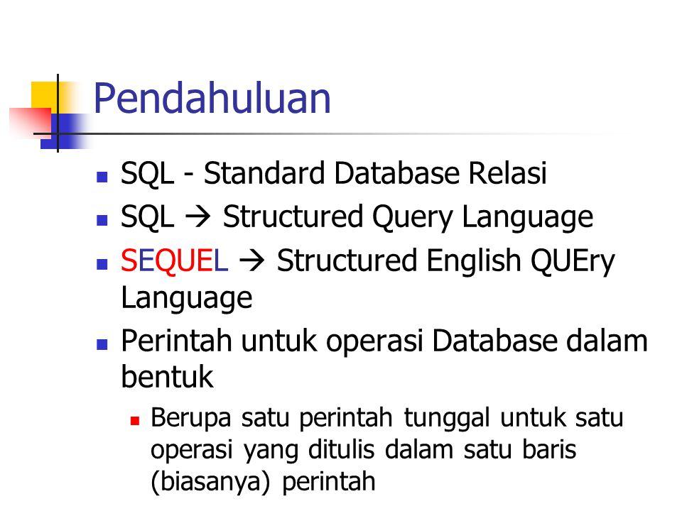 Pendahuluan SQL - Standard Database Relasi