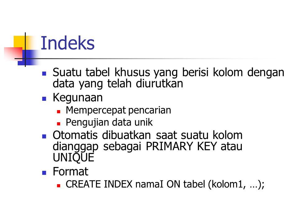 Indeks Suatu tabel khusus yang berisi kolom dengan data yang telah diurutkan. Kegunaan. Mempercepat pencarian.