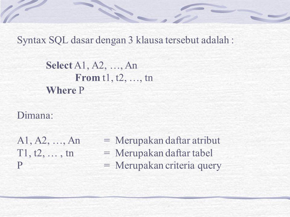 Syntax SQL dasar dengan 3 klausa tersebut adalah :