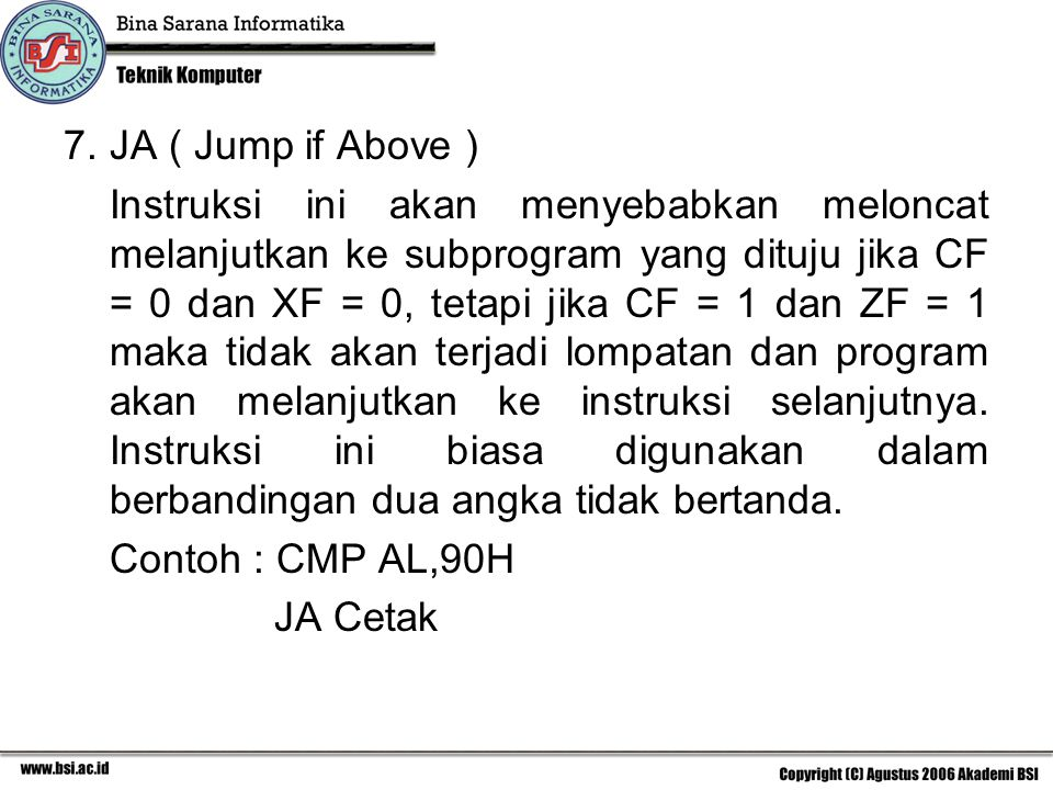 JA ( Jump if Above )
