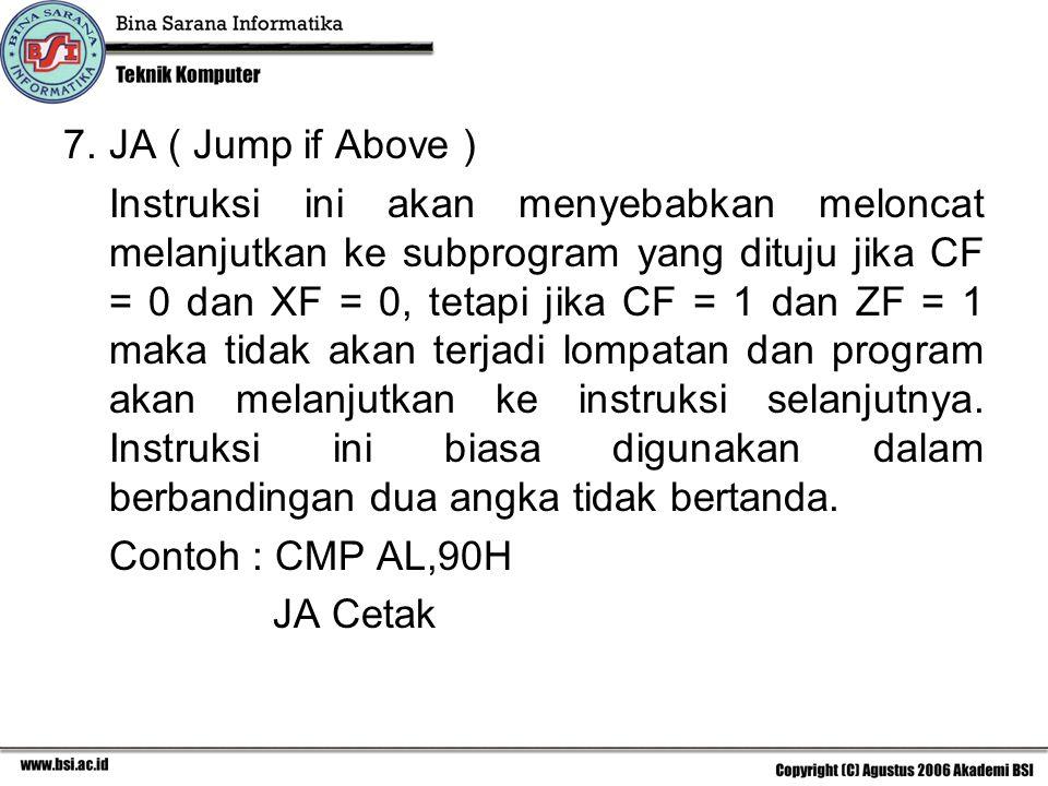 JA ( Jump if Above )