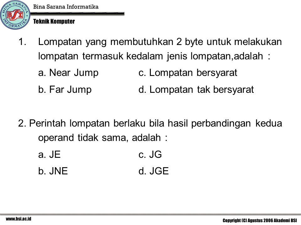 Lompatan yang membutuhkan 2 byte untuk melakukan lompatan termasuk kedalam jenis lompatan,adalah :