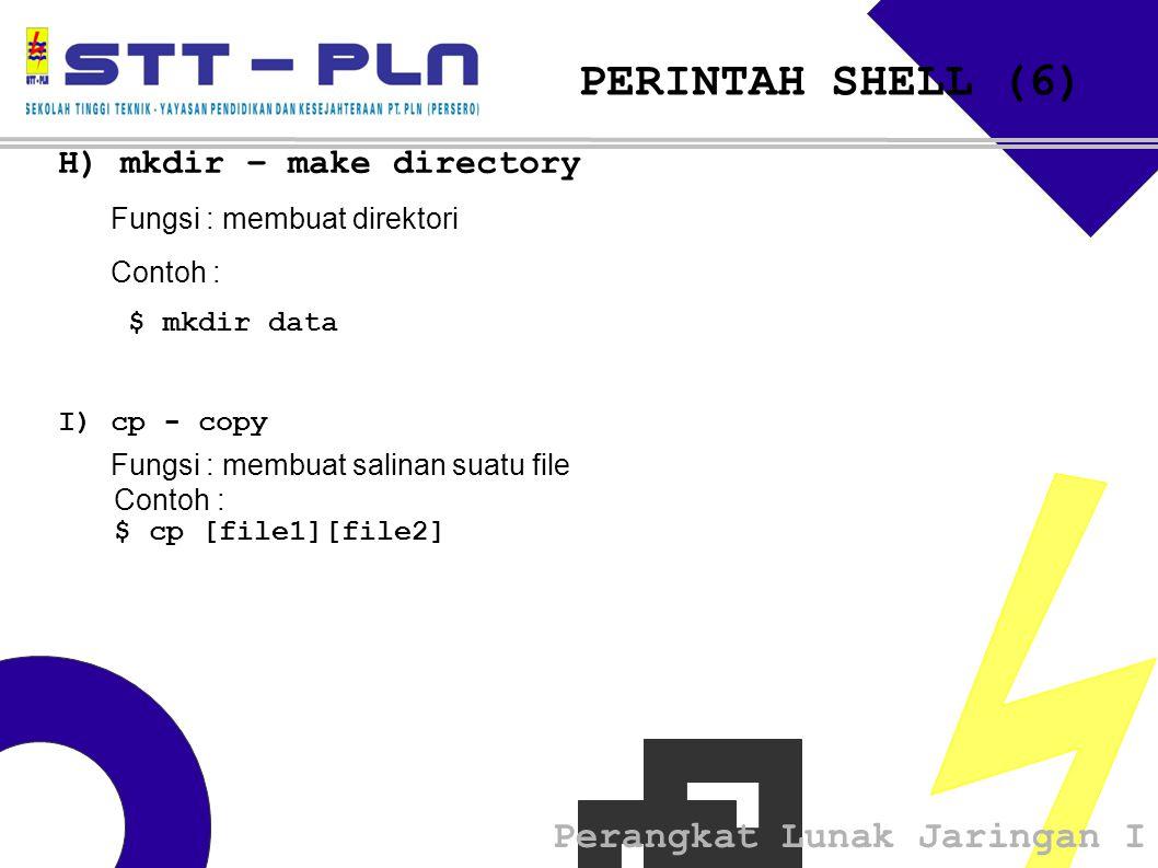 PERINTAH SHELL (6) H) mkdir – make directory