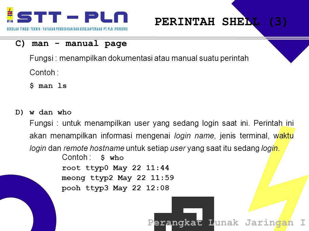 PERINTAH SHELL (3) C) man - manual page