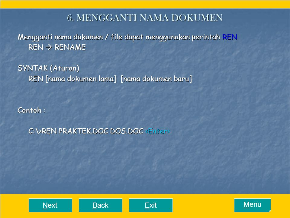 6. MENGGANTI NAMA DOKUMEN