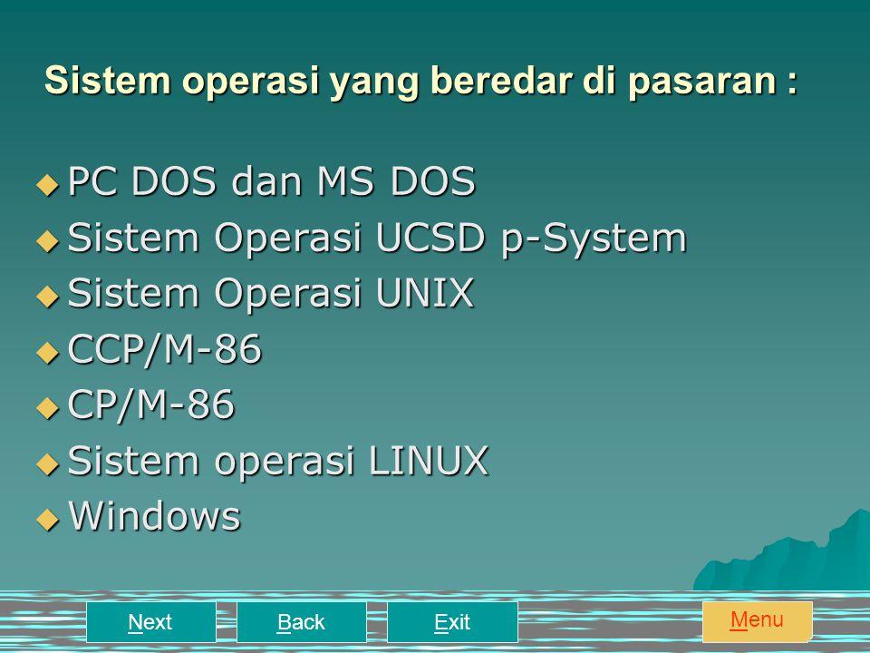 Sistem operasi yang beredar di pasaran :