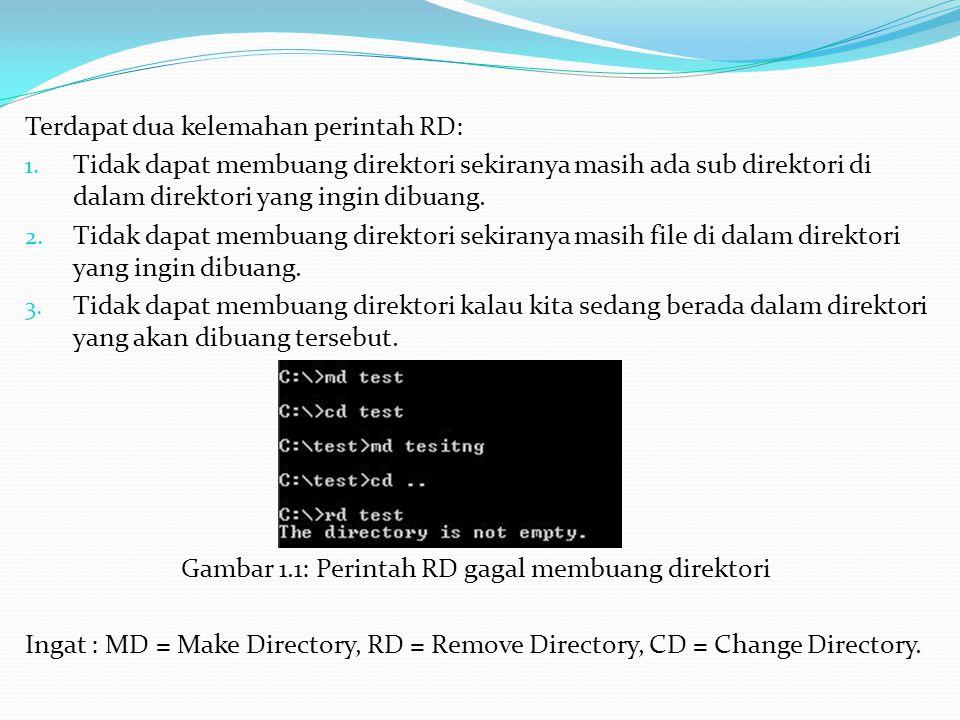 Gambar 1.1: Perintah RD gagal membuang direktori