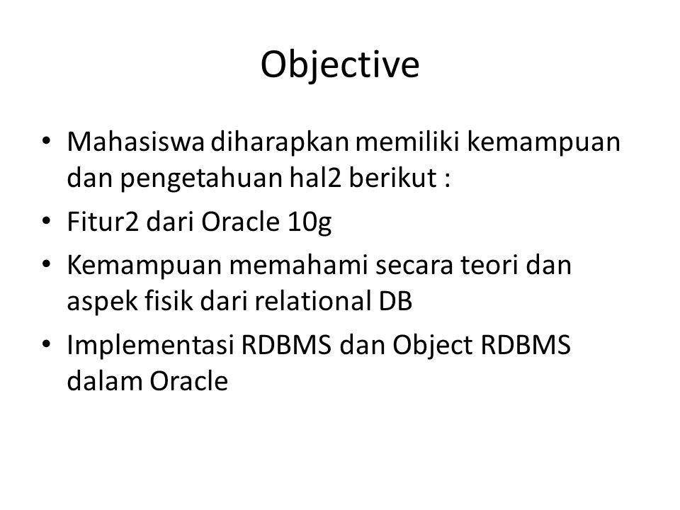 Objective Mahasiswa diharapkan memiliki kemampuan dan pengetahuan hal2 berikut : Fitur2 dari Oracle 10g.