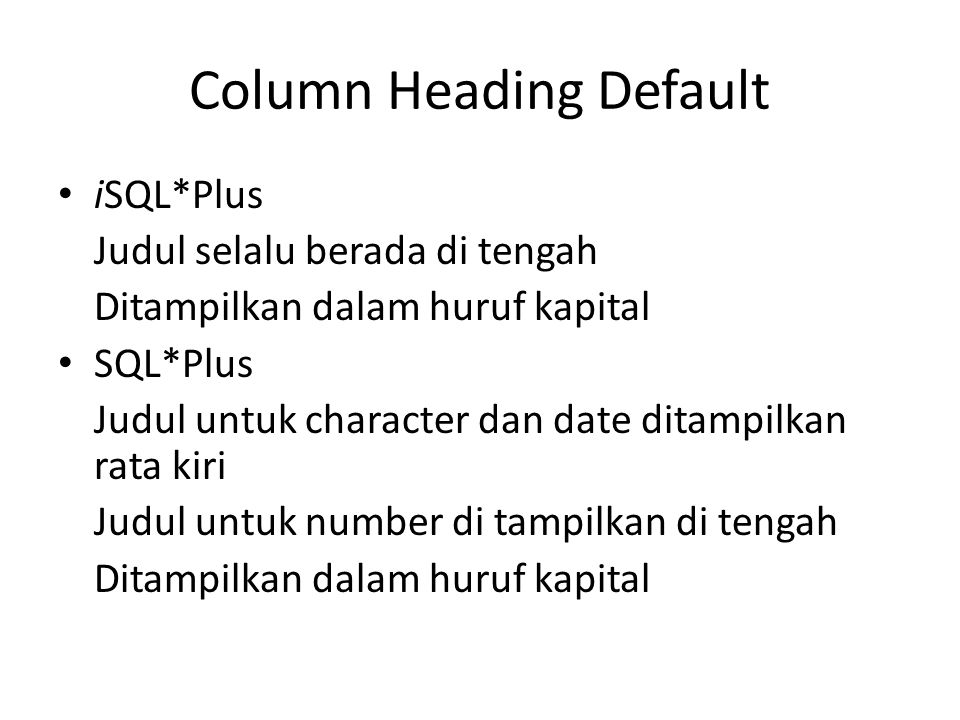 Column Heading Default