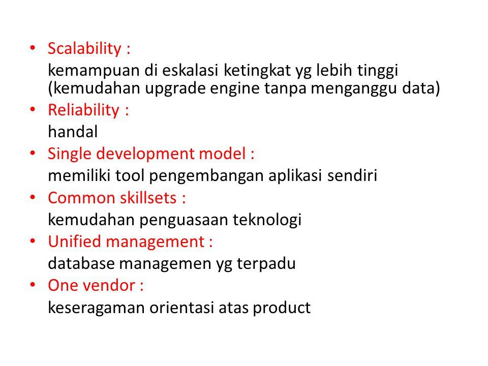 Scalability : kemampuan di eskalasi ketingkat yg lebih tinggi (kemudahan upgrade engine tanpa menganggu data)
