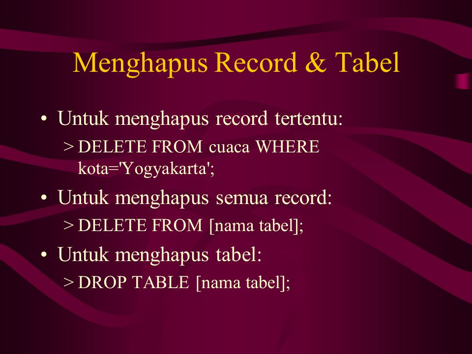 Menghapus Record & Tabel