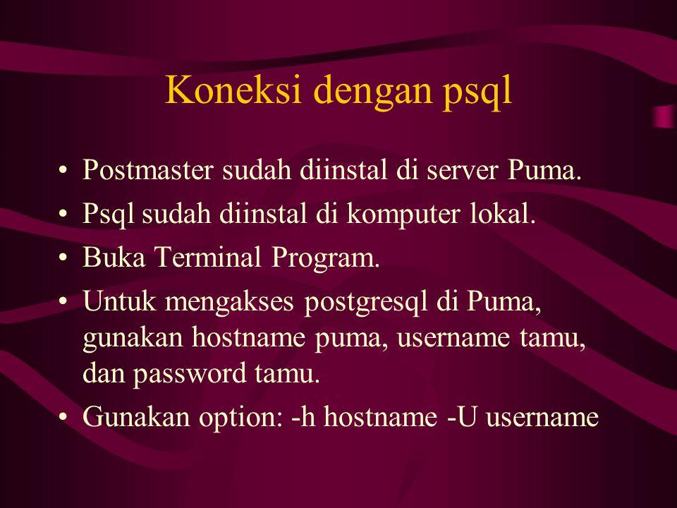 Koneksi dengan psql Postmaster sudah diinstal di server Puma.