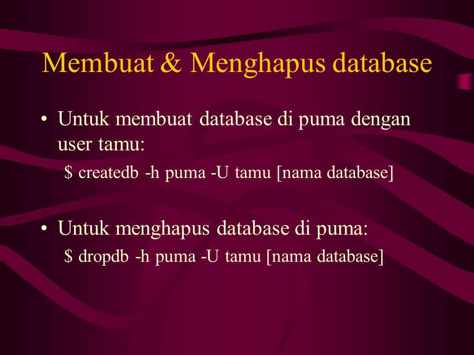 Membuat & Menghapus database