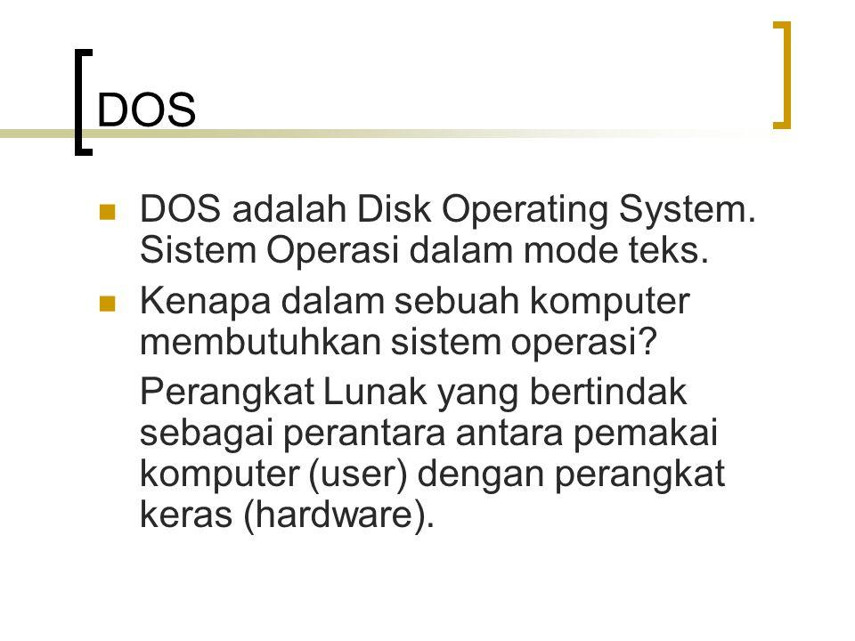 DOS DOS adalah Disk Operating System. Sistem Operasi dalam mode teks.