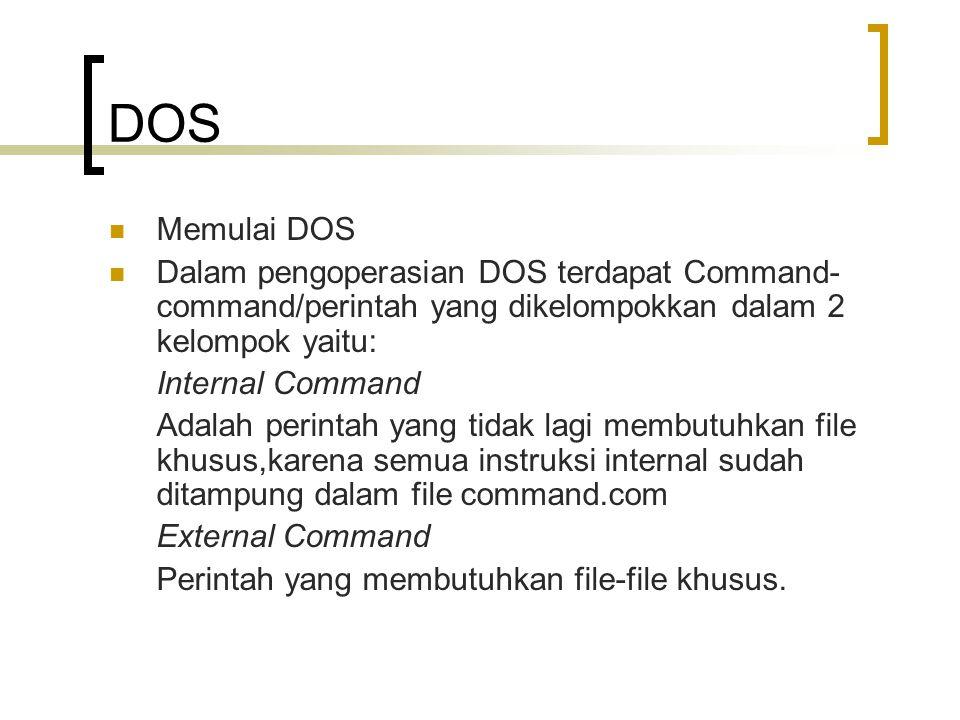 DOS Memulai DOS. Dalam pengoperasian DOS terdapat Command-command/perintah yang dikelompokkan dalam 2 kelompok yaitu: