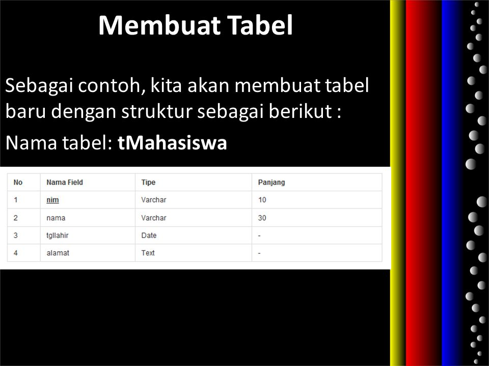 Membuat Tabel Sebagai contoh, kita akan membuat tabel baru dengan struktur sebagai berikut : Nama tabel: tMahasiswa.