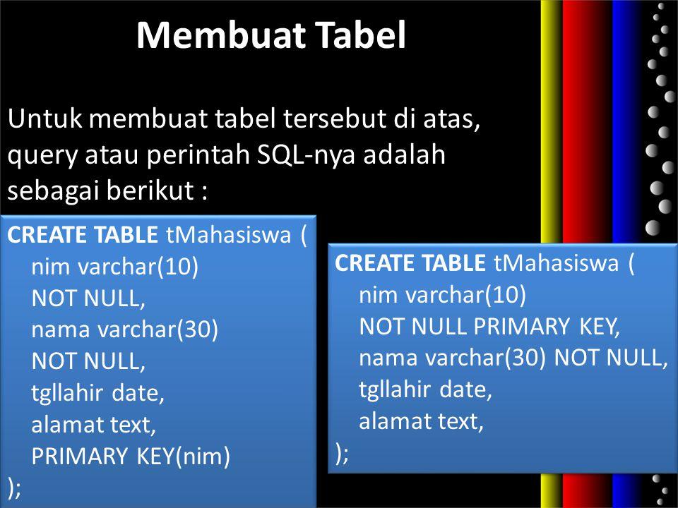 Membuat Tabel Untuk membuat tabel tersebut di atas, query atau perintah SQL-nya adalah sebagai berikut :