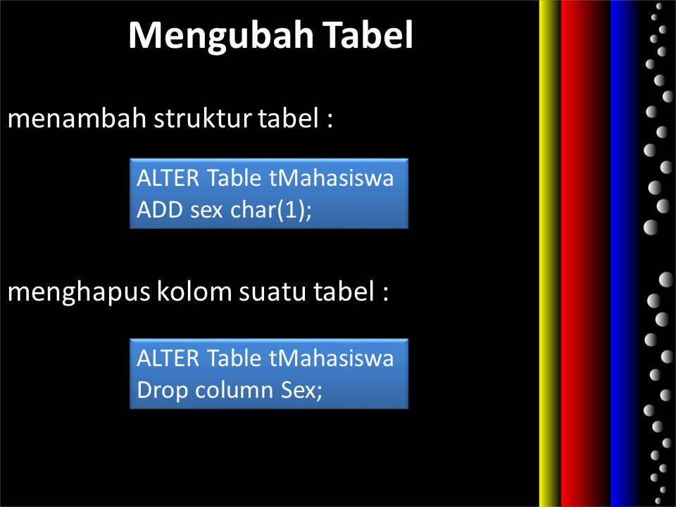 menambah struktur tabel : menghapus kolom suatu tabel :