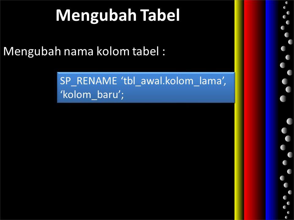 Mengubah nama kolom tabel :