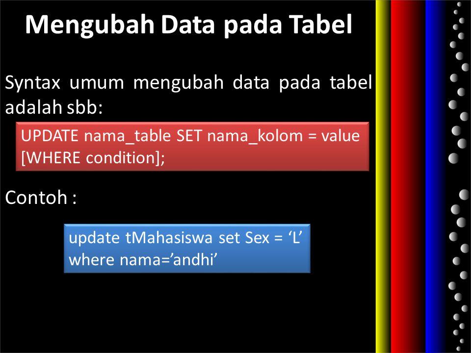 Mengubah Data pada Tabel