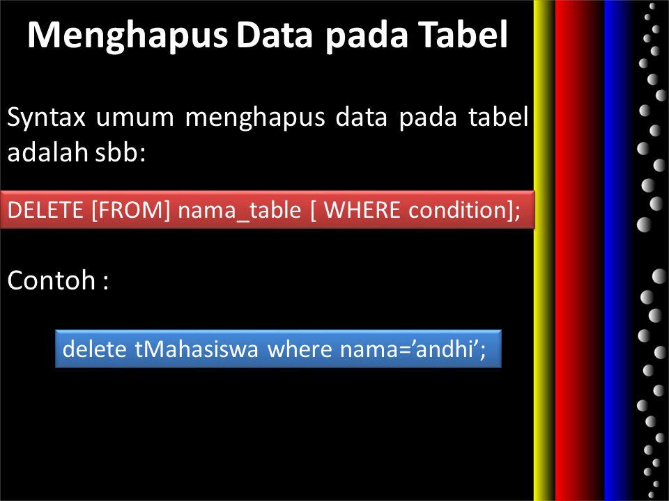 Menghapus Data pada Tabel