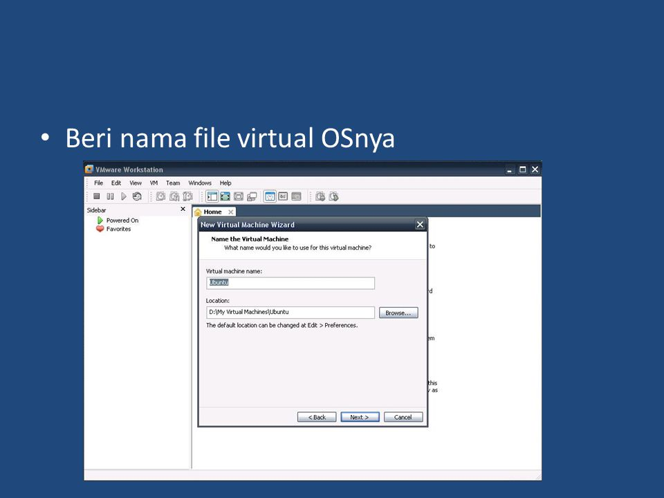 Beri nama file virtual OSnya