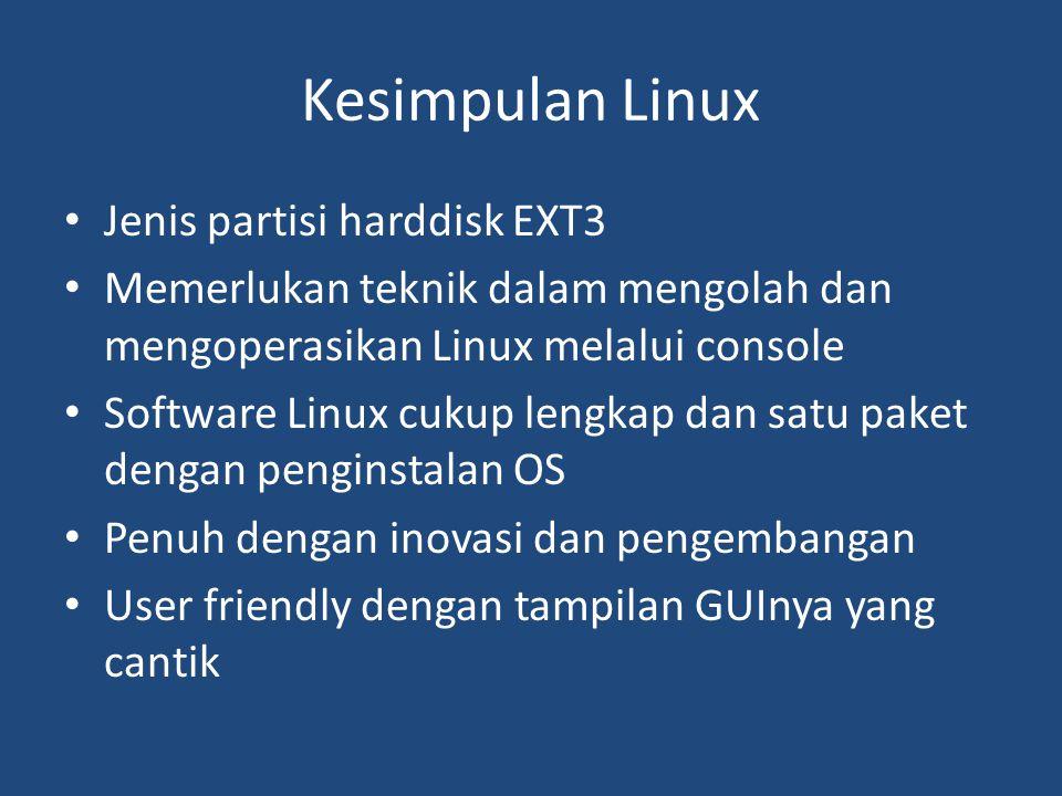 Kesimpulan Linux Jenis partisi harddisk EXT3