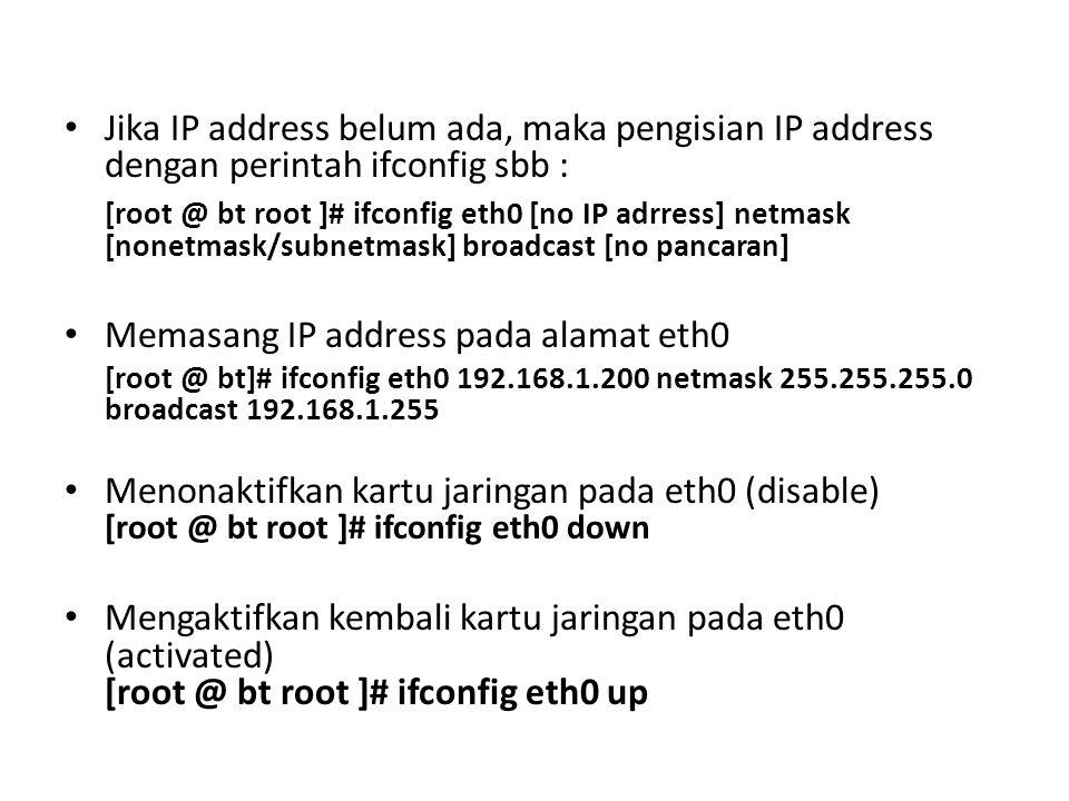 Memasang IP address pada alamat eth0