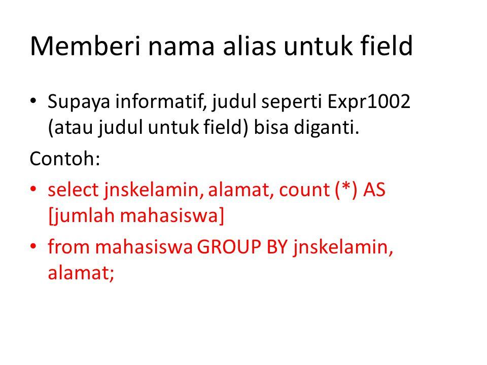 Memberi nama alias untuk field