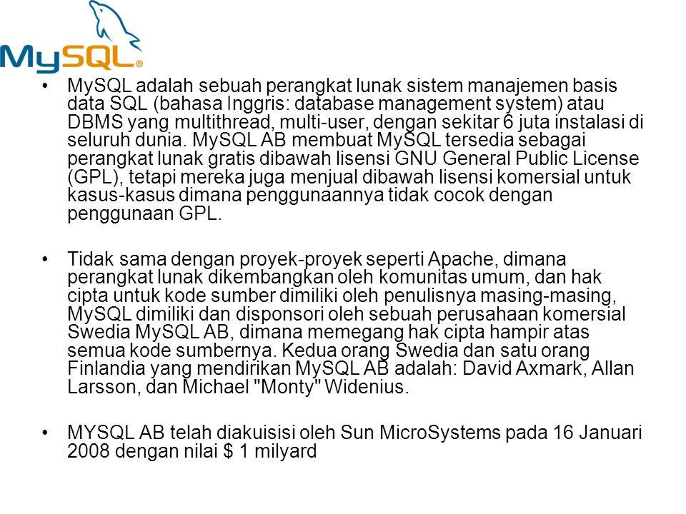 MySQL adalah sebuah perangkat lunak sistem manajemen basis data SQL (bahasa Inggris: database management system) atau DBMS yang multithread, multi-user, dengan sekitar 6 juta instalasi di seluruh dunia. MySQL AB membuat MySQL tersedia sebagai perangkat lunak gratis dibawah lisensi GNU General Public License (GPL), tetapi mereka juga menjual dibawah lisensi komersial untuk kasus-kasus dimana penggunaannya tidak cocok dengan penggunaan GPL.