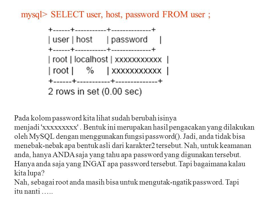 mysql> SELECT user, host, password FROM user ;