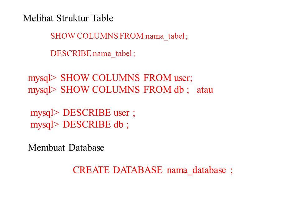 Melihat Struktur Table