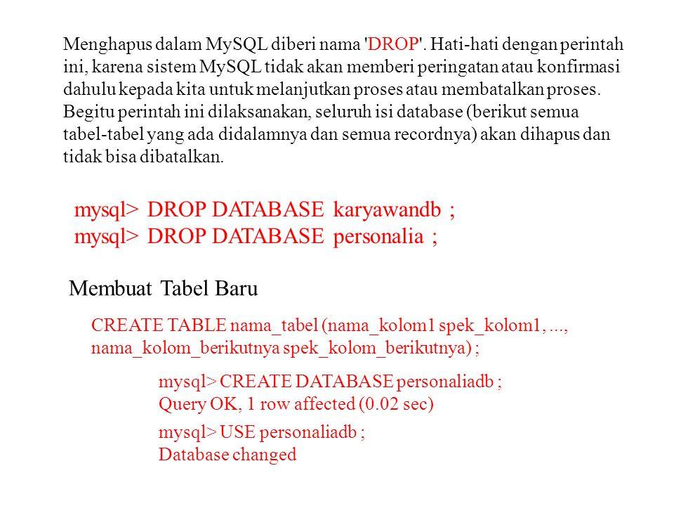 mysql> DROP DATABASE karyawandb ;