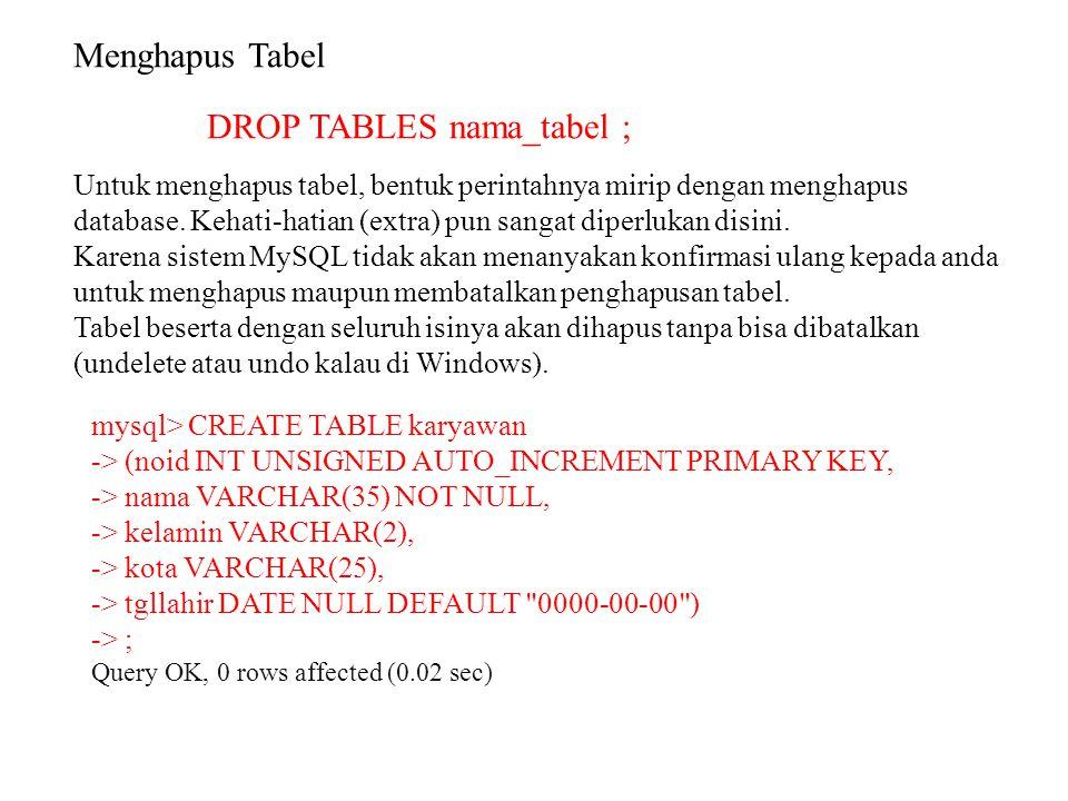 DROP TABLES nama_tabel ;