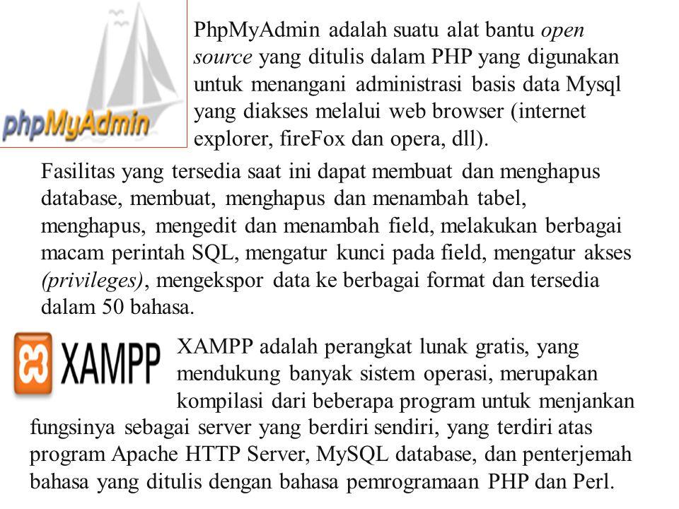 PhpMyAdmin adalah suatu alat bantu open source yang ditulis dalam PHP yang digunakan untuk menangani administrasi basis data Mysql yang diakses melalui web browser (internet explorer, fireFox dan opera, dll).