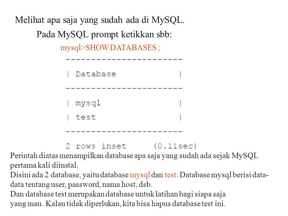 Melihat apa saja yang sudah ada di MySQL.