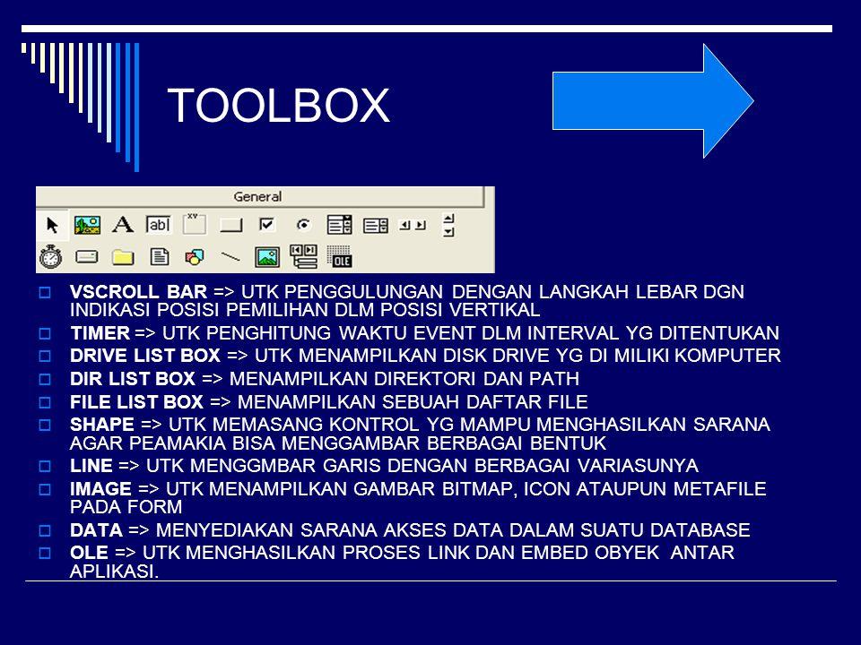 TOOLBOX VSCROLL BAR => UTK PENGGULUNGAN DENGAN LANGKAH LEBAR DGN INDIKASI POSISI PEMILIHAN DLM POSISI VERTIKAL.