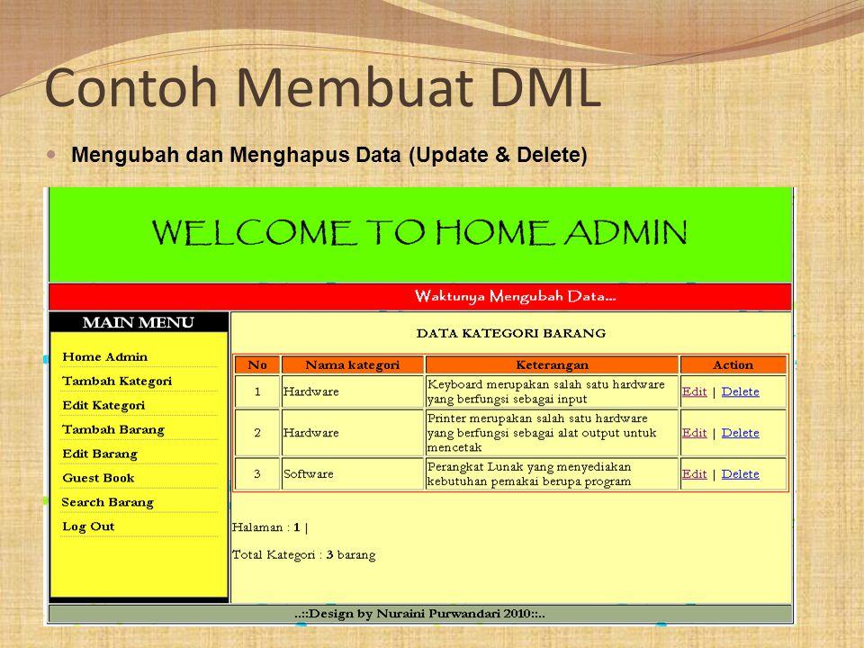 Contoh Membuat DML Mengubah dan Menghapus Data (Update & Delete)