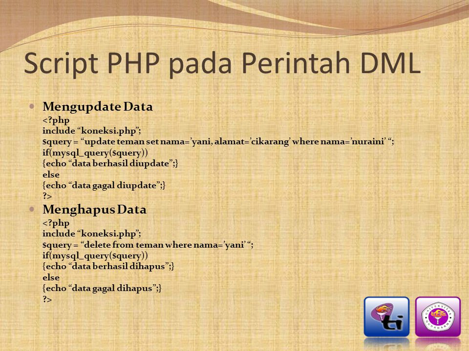 Script PHP pada Perintah DML