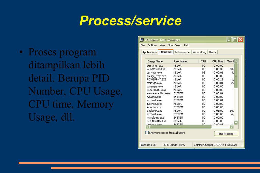 Process/service Proses program ditampilkan lebih detail.