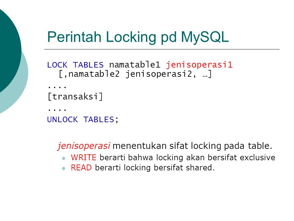 Perintah Locking pd MySQL