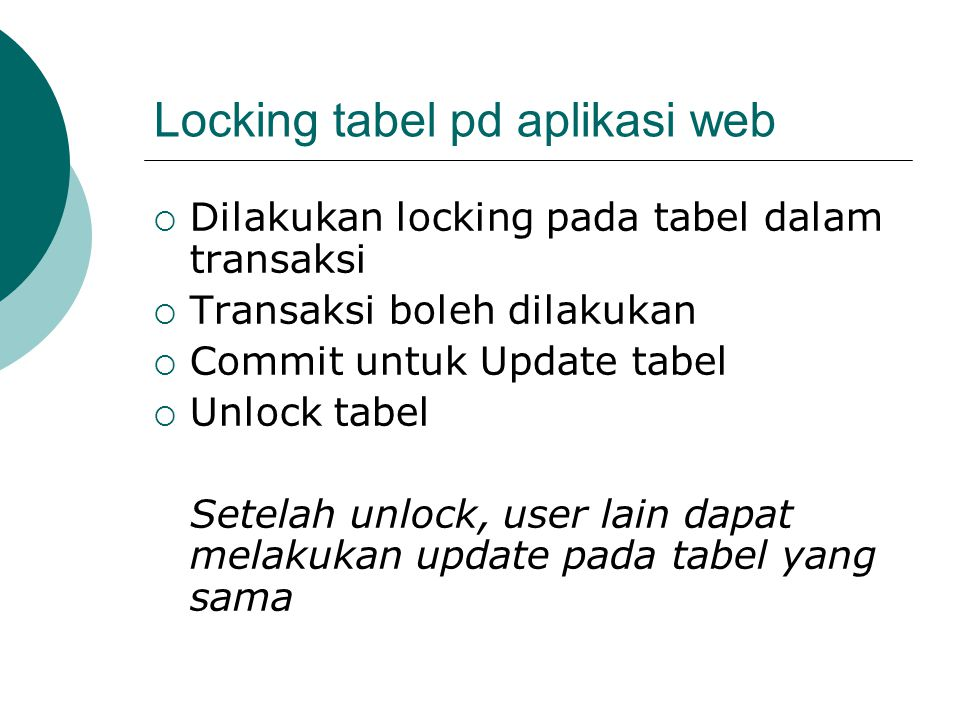 Locking tabel pd aplikasi web