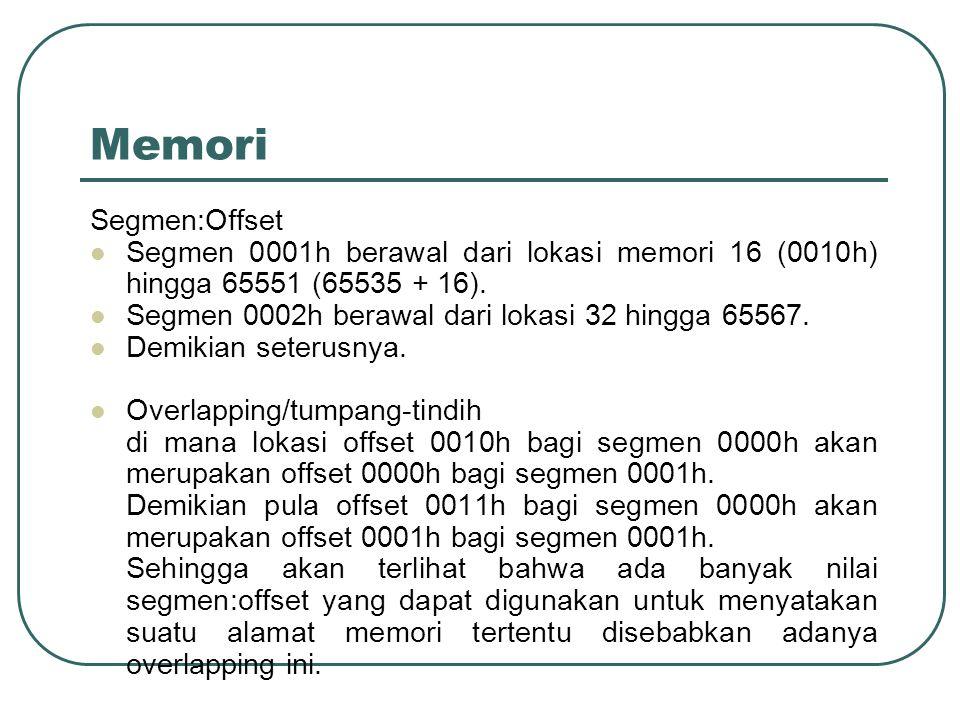 Memori Segmen:Offset. Segmen 0001h berawal dari lokasi memori 16 (0010h) hingga 65551 (65535 + 16).